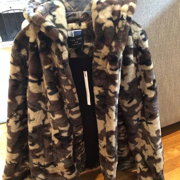 689c181e8196 Love Tree Jackets & Coats   New Faux Fur Camo Coat Sz Lg By   Poshmark